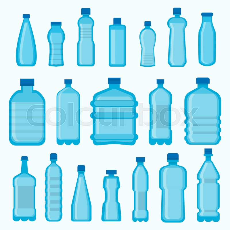 a73cbc730e7 Stock vector of  Plastic bottles vector icons set. Isolated different shapes  of empty transparent