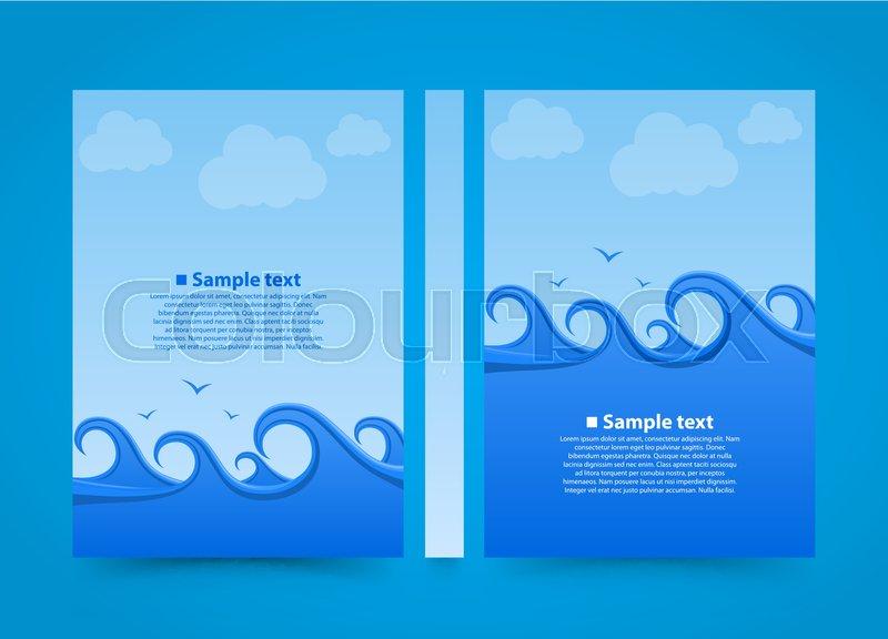 flyer sea wave banner book summer beach a4 size paper template