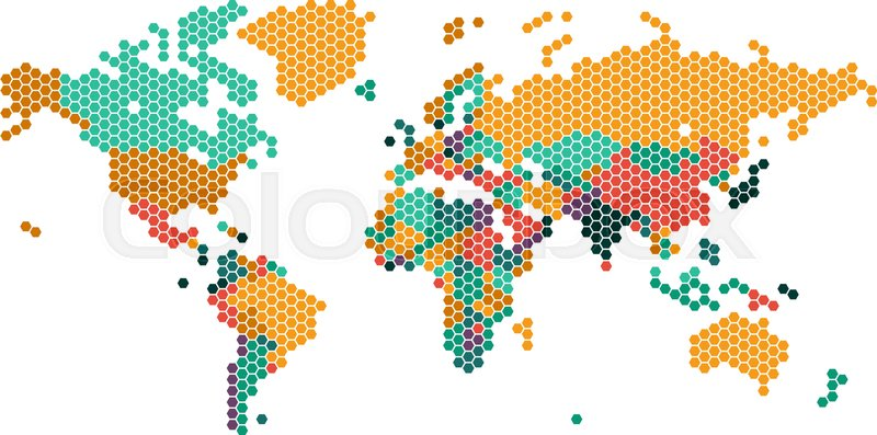photograph about World Maps With Countries Printable referred to as Dotted International map with international locations  Inventory vector Colourbox
