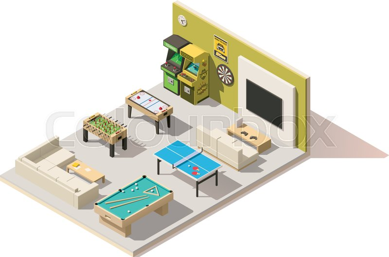 Vector isometric low poly recreation room interior, vector