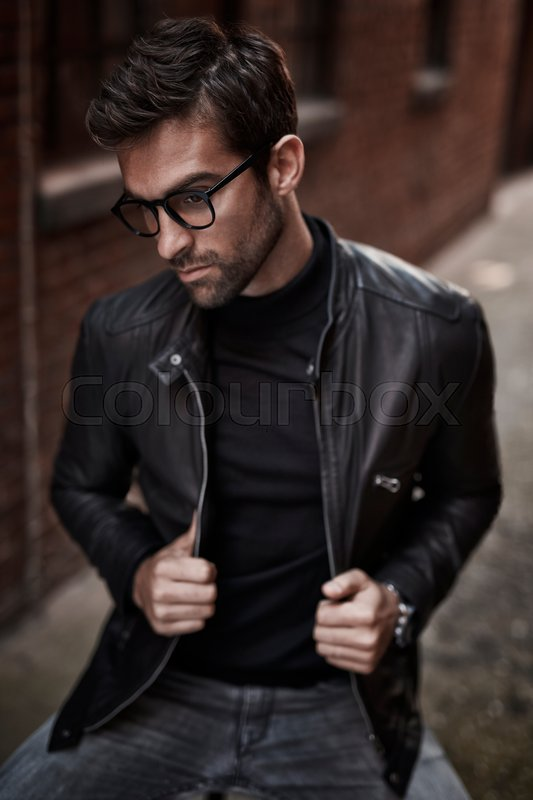 Leather Jacket Guy In Spectacles Stock Photo Colourbox
