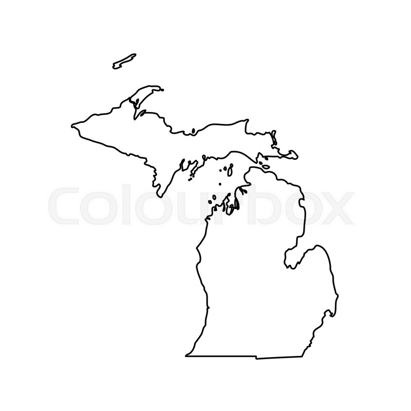 Map of the U.S. state Michigan. Vector ... | Stock Vector ...