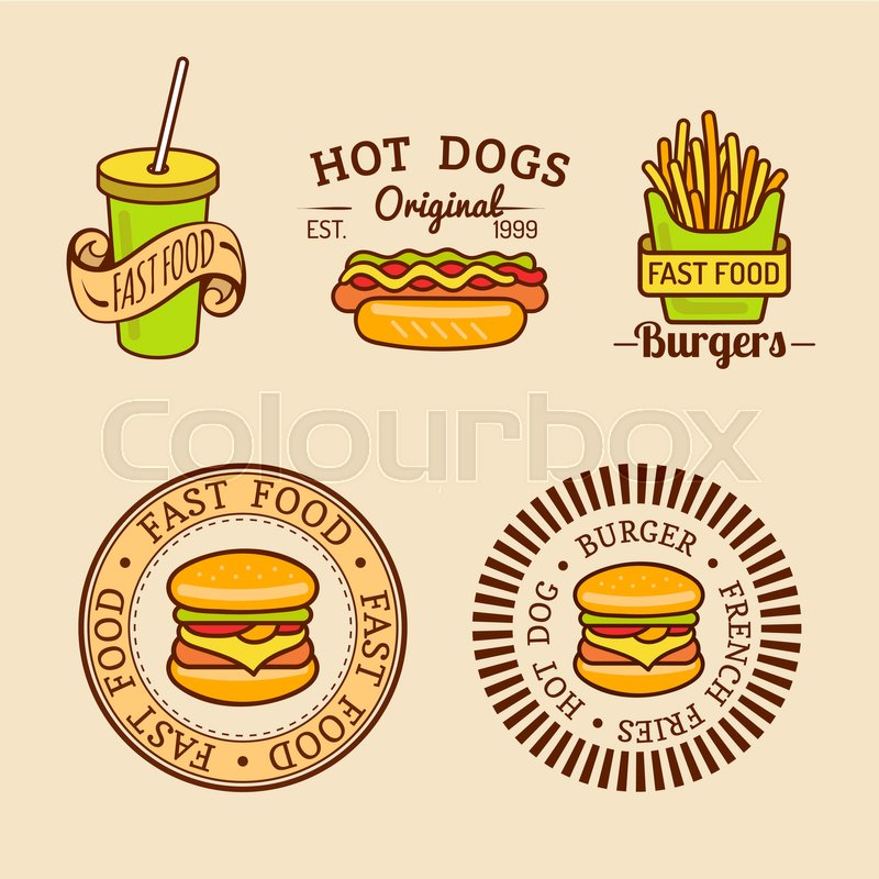 Vector vintage fast food logos set. Retro eating signs collection ...