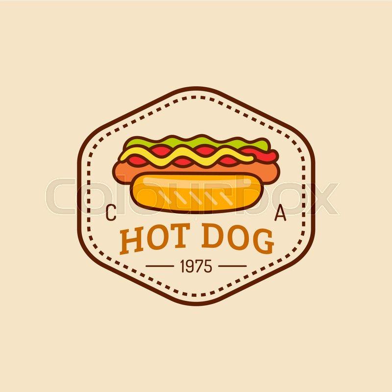 Vector vintage fast food logo. Retro hand drawn hot dog sign. Bistro ...
