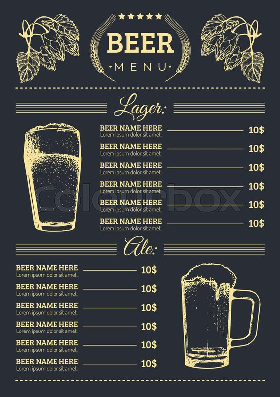 beer menu design template  vector bar  pub or restaurant