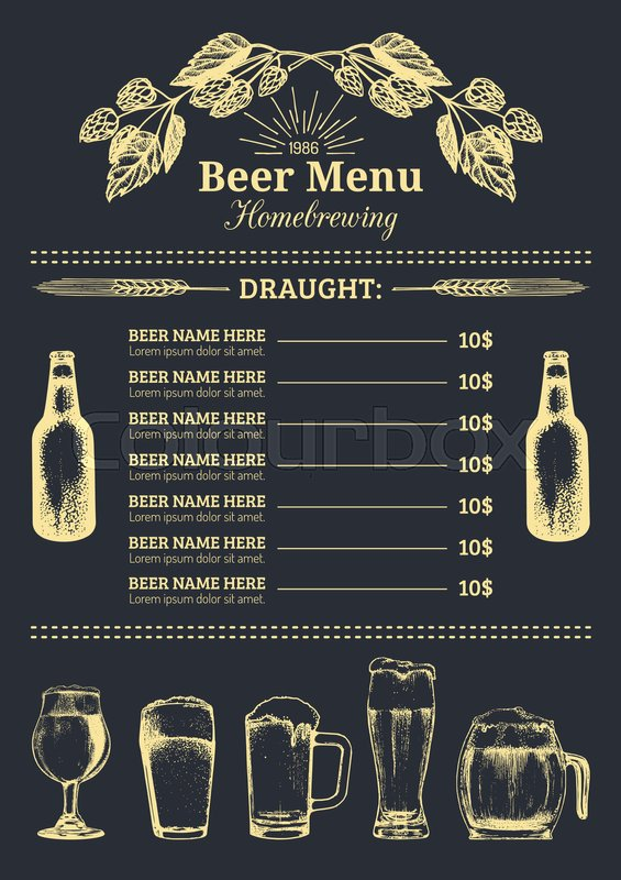Beer Menu Design Template Vector Bar Stock Vector Colourbox