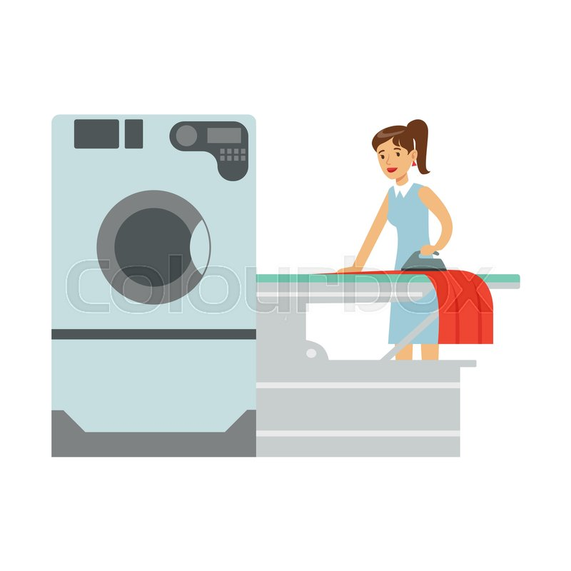 Woman Ironing Laundry, Part Of People Using Automatic Self-Service Laundromat Washing Machines Of Vector Illustrations. Person Taking Care Of The Clothes And Laundry Cartoon Drawing With Smiling Character, vector