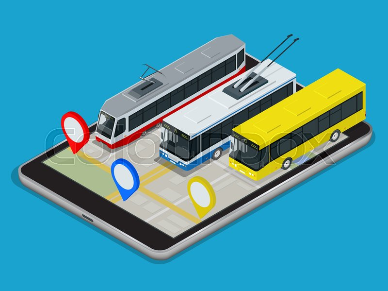 Public Transport trolleybus, bus, tram . Online Schedule App for tablet. Flat 3d vector isometric illustration, vector