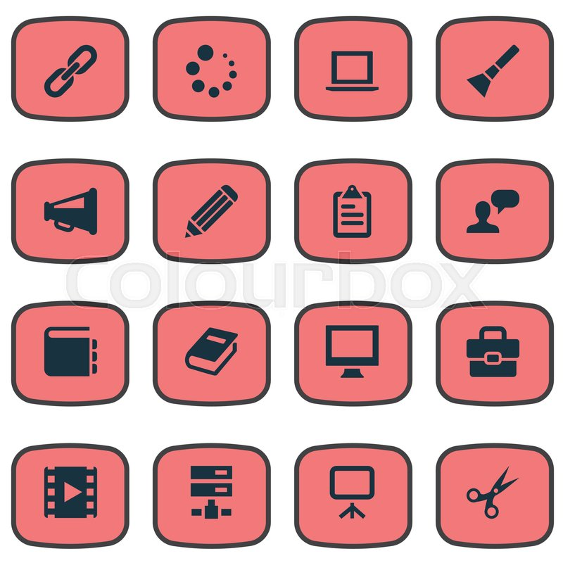 Vector illustration set of simple icons icons elements laptop list stock vector of vector illustration set of simple icons icons elements laptop list malvernweather Choice Image