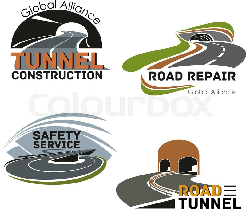 Road Tunnel Construction And Repair Icon Set Highway Intersection