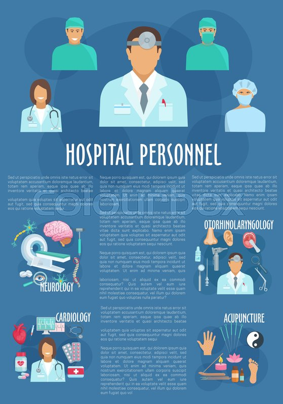 Medical personnel poster template. Doctor and nursing staff of ...