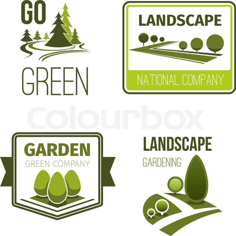 Park Alley And Garden Path With Green Tree, Leaf, Plant, Grass Lawn  Isolated Symbol For Landscape Architecture Company Design, Vector