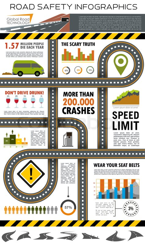 Road and traffic safety infographic template. Highway with road sign ...