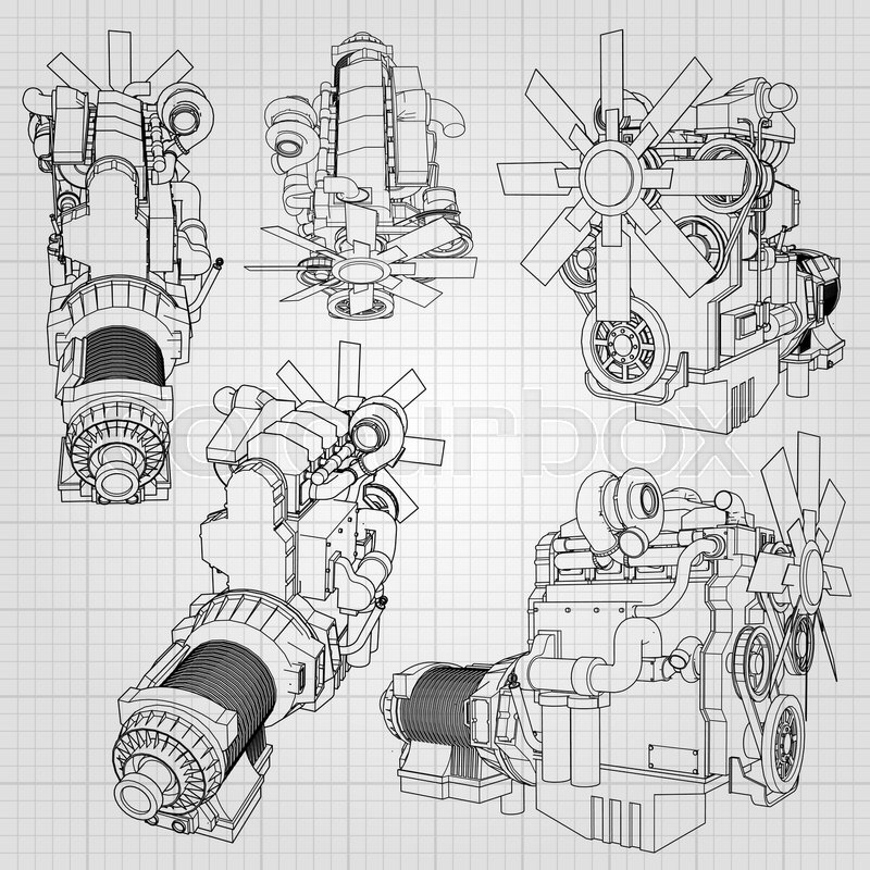 a big diesel engine with the truck depicted in the contour lines on