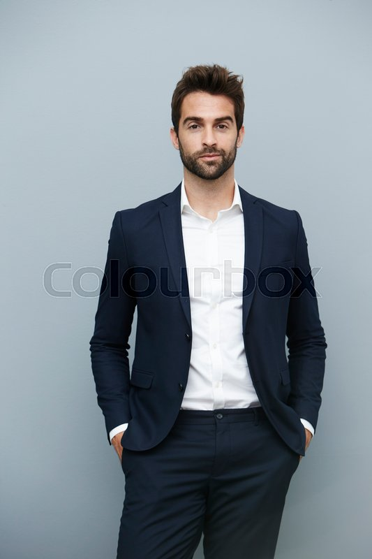 Smart suit guy looking confident, portrait | Stock Photo ...  Smart suit guy ...