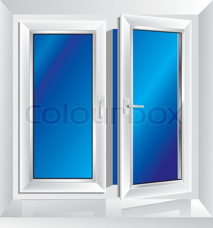 wei e kunststoff fenster angelehnt mit blauer farbe in den hintergrund vektorgrafik colourbox. Black Bedroom Furniture Sets. Home Design Ideas