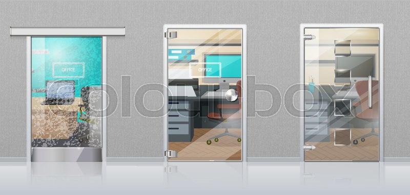 Office Workplace Through Glossy Glass Door View Flat Vector