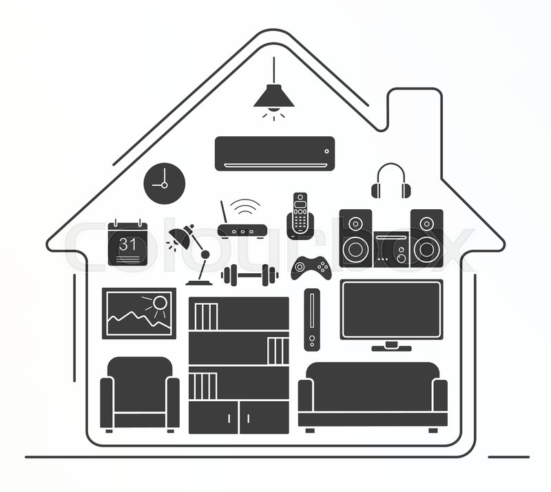 Kitchen Furniture Silhouette: Living Room Interior Design Silhouette Icons Set. House