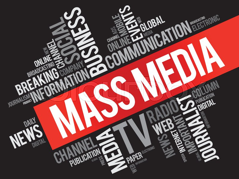 mass media word cloud collage  technology business concept background