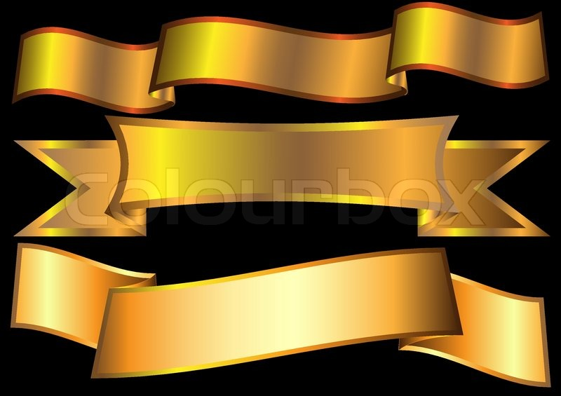 gold ribbons on black vector stock vector colourbox
