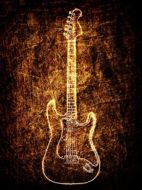 Electric Guitar On The Grunge Background Stock Photo