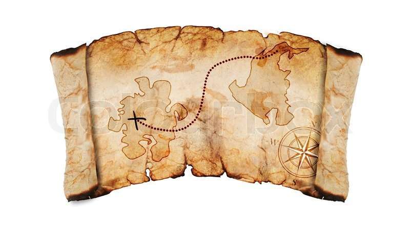 Old Treasure Map Isolated On A White Background Stock Photo