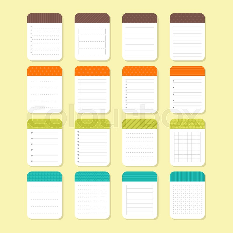 Template notepad design. Sheets of paper. Collection of various note ...