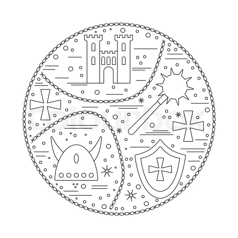 Medieval icons symbols in round composition king castle tower king castle tower iron mace horned viking helmet heraldic shield knight cross chain medieval design elements isolated on white vector template maxwellsz