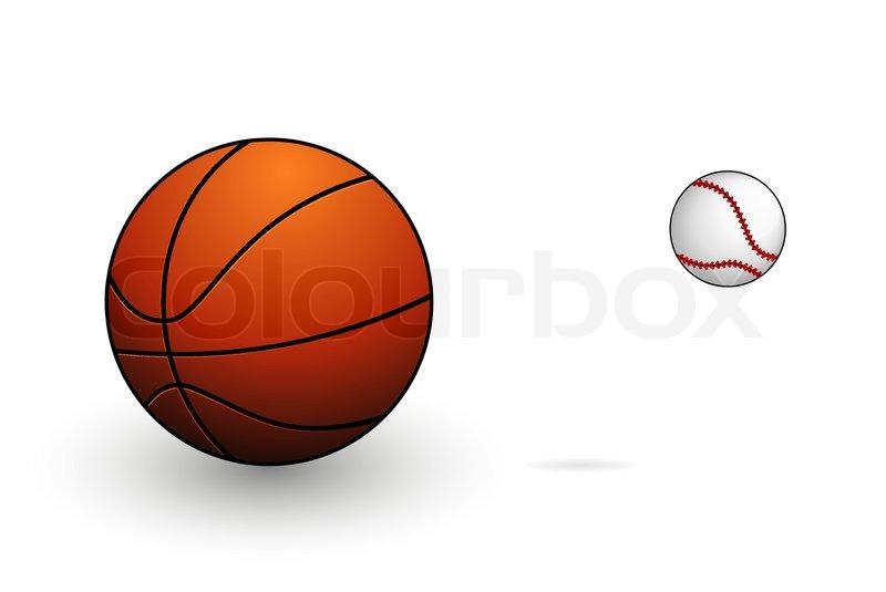 sport basketball and baseball symbols set isolated stock