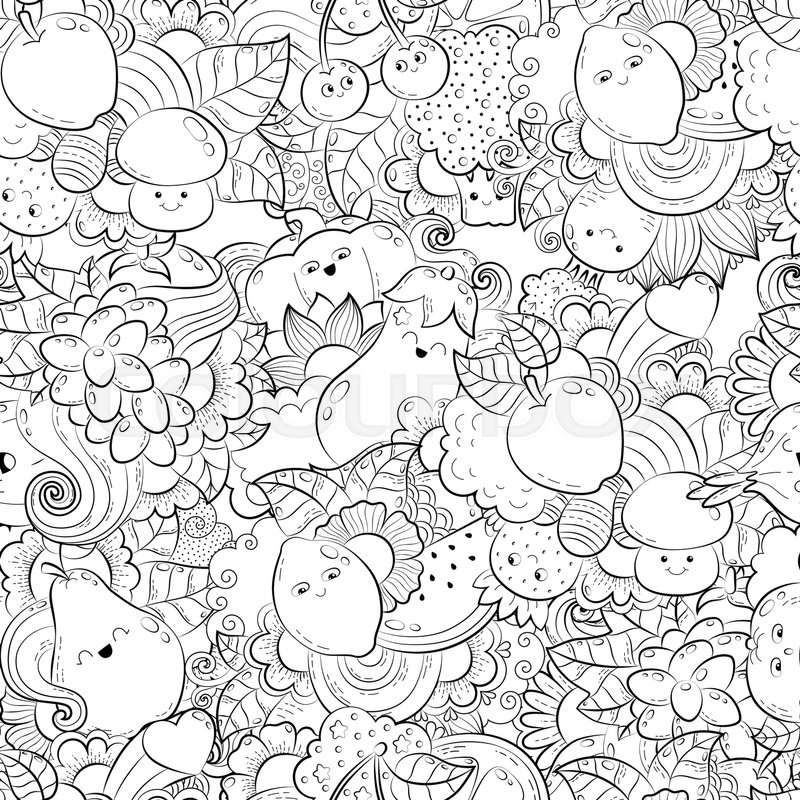 Vector Hand Drawn Funny Happy Vegetables Fruits And Berries Illustration For Adult Coloring Book Freehand Sketch Anti Stress Page
