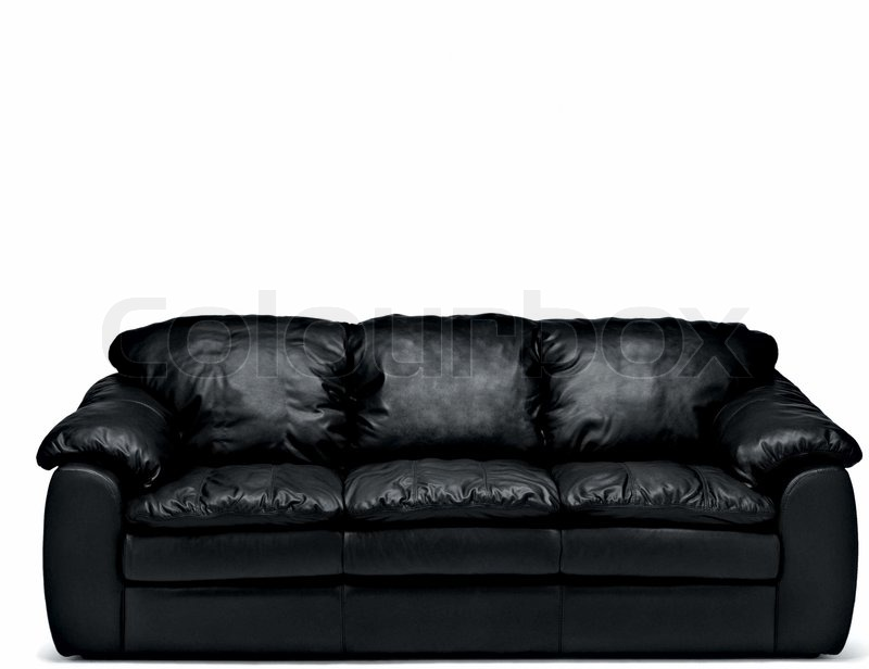 Image of a modern black leather sofa ... | Stock image | Colourbox