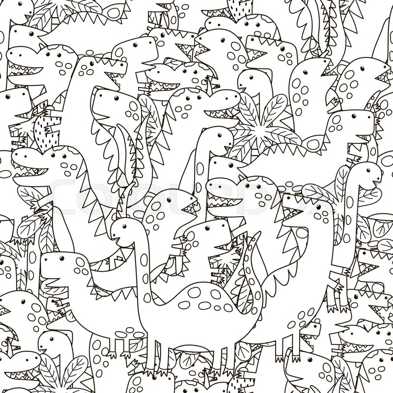 Doodle Dinosaurs Seamless Pattern Stock Vector