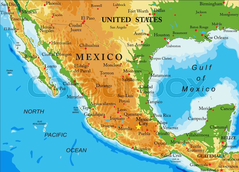 Highly detailed physical map of Mexicoin vector formatwith all the