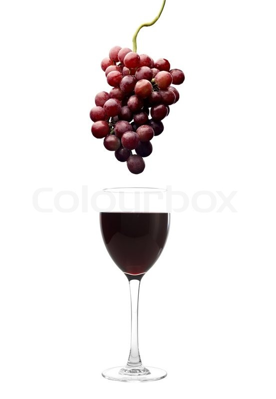 Red wine glass and grapes   Stock Photo   Colourbox