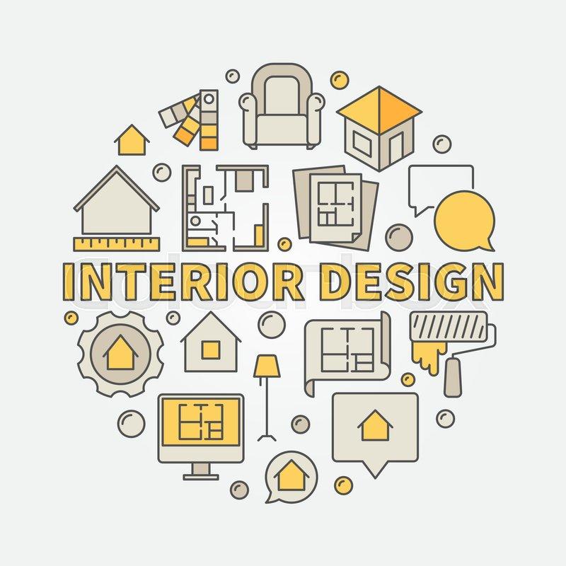 Interior Design Colorful Illustration Vector Circular Architecture