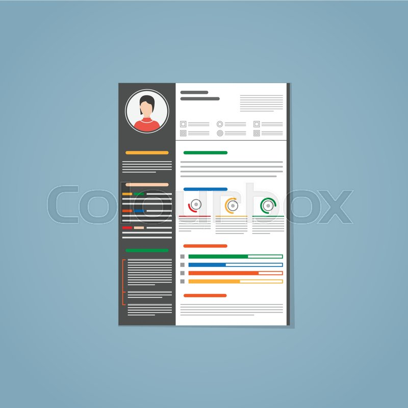 minimalist vector flat resume cv template with simple design in dark black version colored text photo and infographic charts on a paper in a4 size