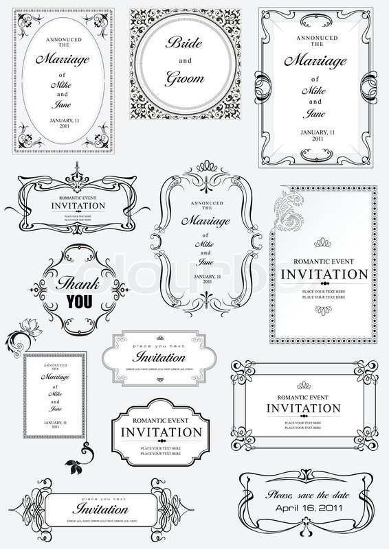 Set of ornate vector frames and ornaments with sample text perfect set of ornate vector frames and ornaments with sample text perfect as invitation or announcement all pieces are separate easy to change colors and edit stopboris Gallery