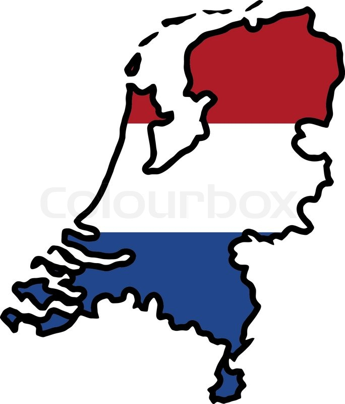 Map in colors of Netherlands Stock Vector Colourbox