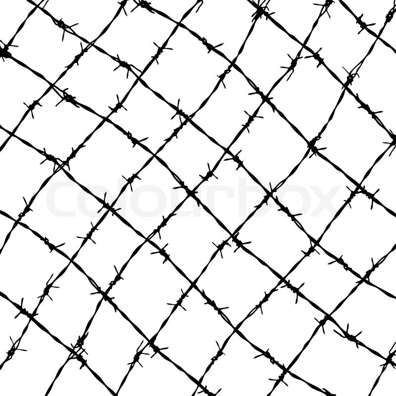 Fence from barbed wires isolated on white background | Stock Vector ...