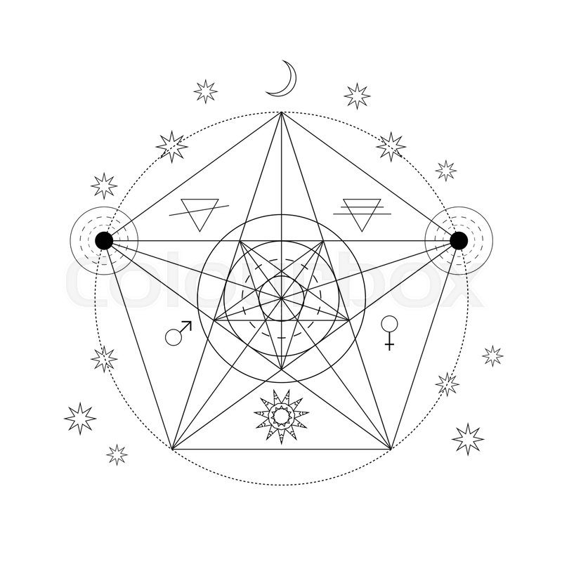 Mystical Geometry Symbol Linear Alchemy Occult Philosophical Sign