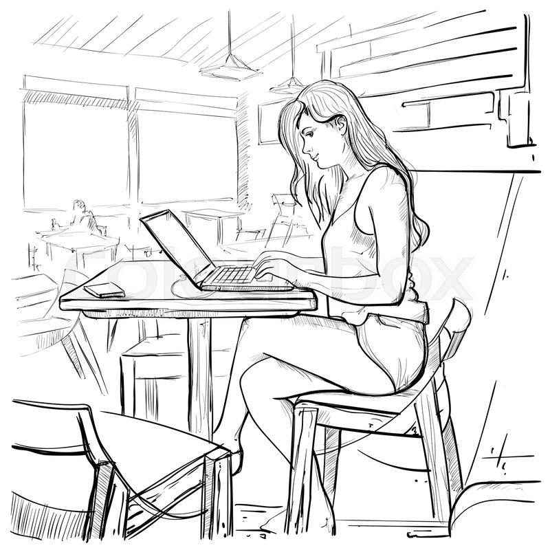 Girl Typing On Laptop Computer Sketch Young Woman Chatting Online Sitting On Chair Living Room Interior Vector Illustration | Stock Vector | Colourbox