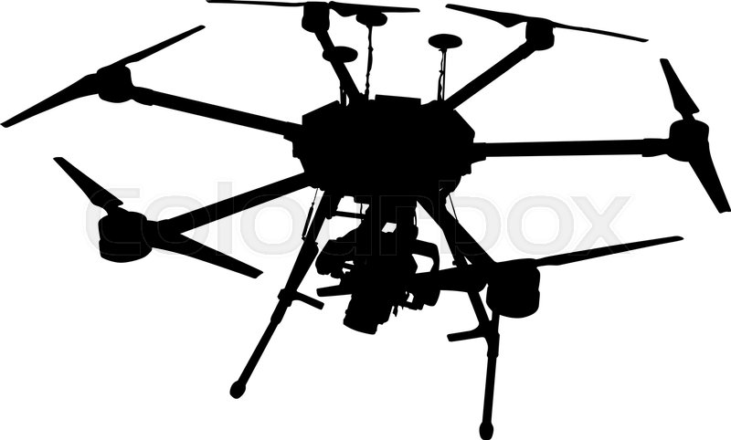black silhouette drone quadrocopter on white background