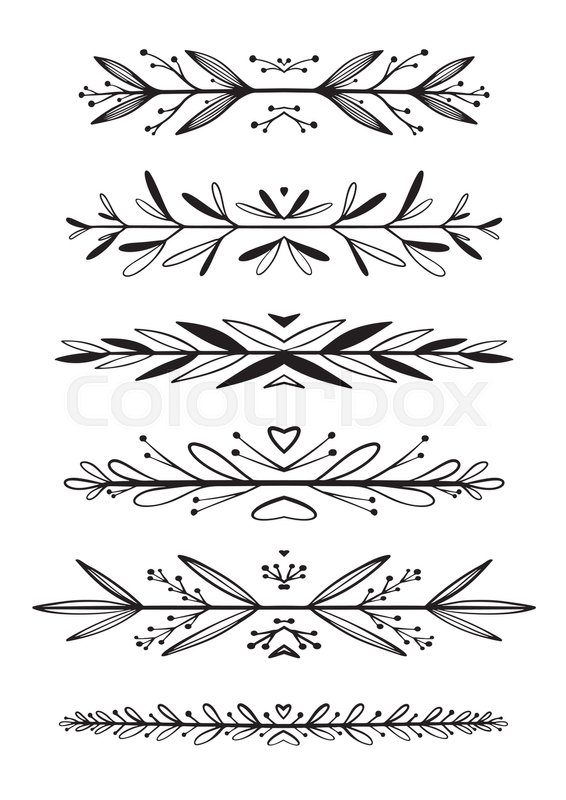 Hand drawn floral borders dingbats dividers for the page isolated on the white background can be used for birthday card wedding invitations book page decoration stock vector colourbox stopboris Choice Image