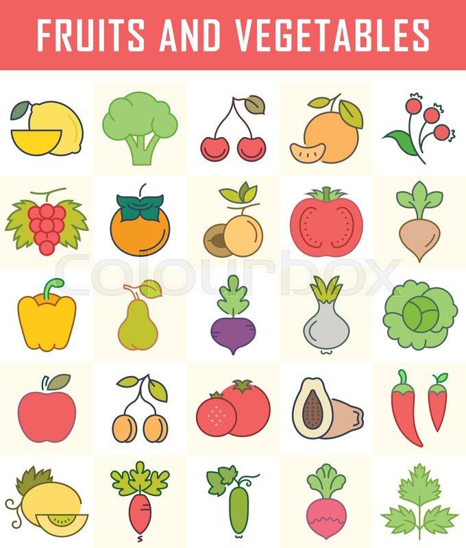 Vitamin, mad, madvarer | stock vektor | Colourbox