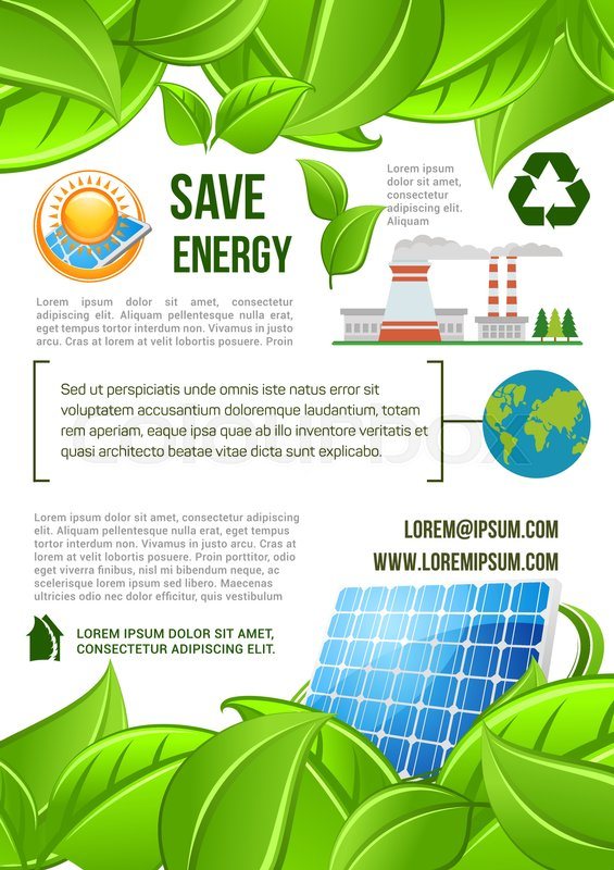 Save Energy Poster For Ecology And Stock Vector