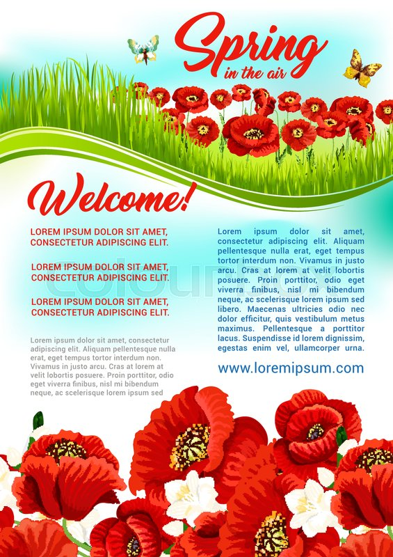 Welcome spring poster design with blooming flowers on green grass welcome spring poster design with blooming flowers on green grass field vector springtime holiday quotes and wishes template with poppy and orchid blossoms mightylinksfo