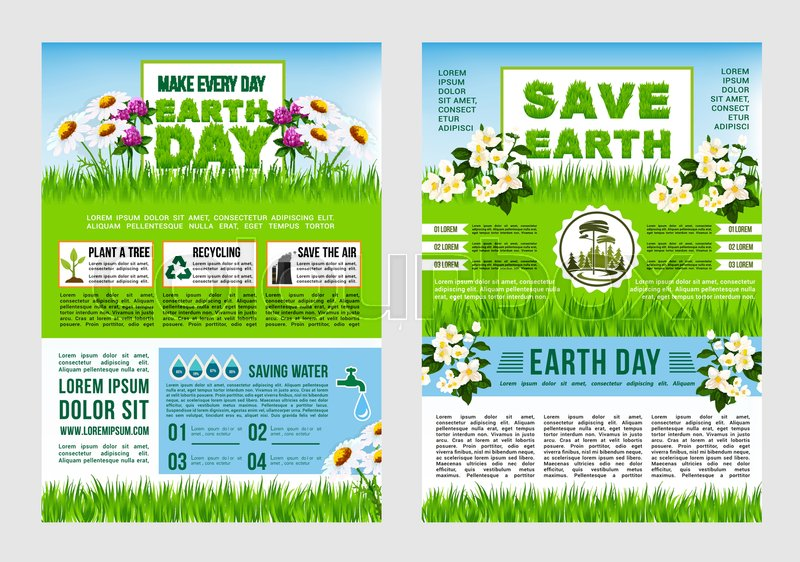 Earth Day Save Planet Information Poster Template Green Tips To