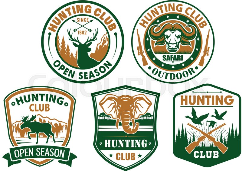 Hunting Or Hunter Club Badges With Symbols Of Wild Animals Musk Ox