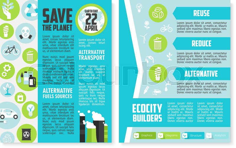 Earth Day Brochure Template Save The Planet Poster Of Environment