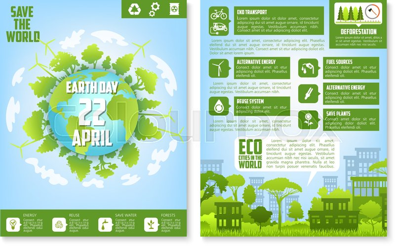 Earth Day Brochure Template Eco City Streetscape And Globe With